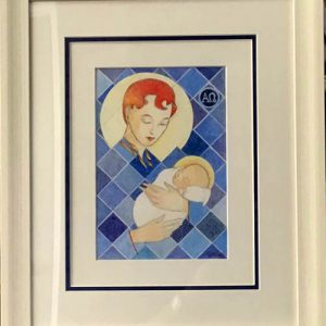 The mother and child by Philip McMullen, framed