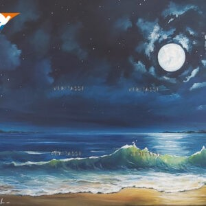 Moon and stars by Lynne Pugh